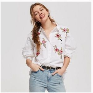 Topshop Love Me Grace Embroidered Shirt US 8